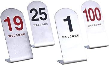 Roestvrijstalen tanknummer Kaarten, 6x4x12cm, restaurant/cafe/bar zitting tabel nummers 1-50/1-100, bruiloft verjaardagsfe...