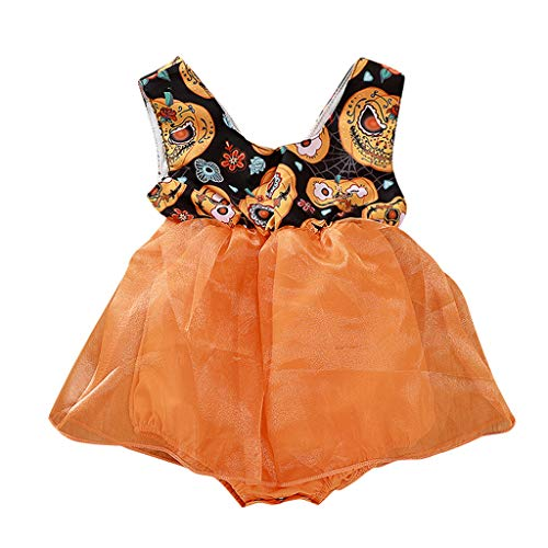 Jurk met lange mouwen met pompoenopdruk, voor Halloween, voor meisjes, kleine prinses, tutu, ronde hals, T-shirt, boogjurk voor meisjes