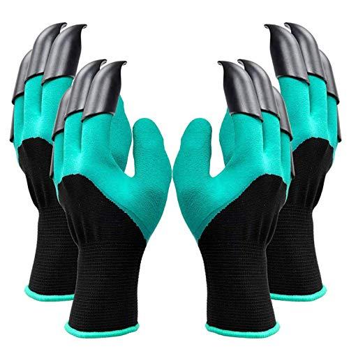 2 Paar Garten Genie Handschuhe mit Krallen Wasserdicht Gartenhandschuhe mit Krallen Sicher zum Graben und Bepflanzen, Beste Gartenarbeit Geschenke für Frauen und Männer