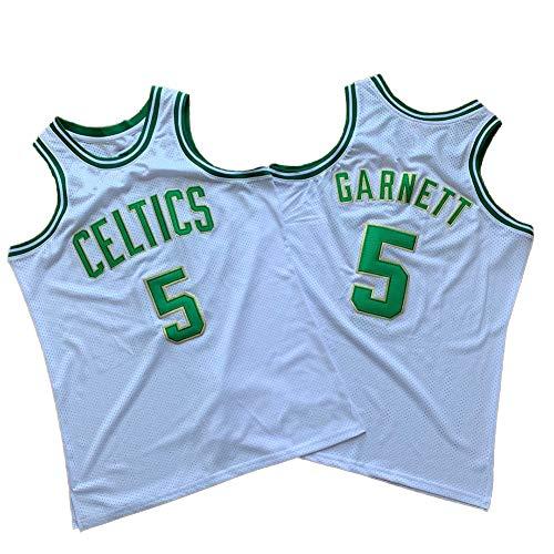 # 5 Celtics Garnett Basketball Trikot Ärmelloses T-Shirt Trainingsspiel Trikot Dicht gestickte Version Basketball Uniformen Junge Erwachsene Jugend (S-XXL) S