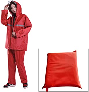 Raincoat Suit Impermeable Waterproof Reflective Strip Men Women Rain Cover Hooded Motorcycle Poncho Rainwear Hiking Fishing,red,XXXL