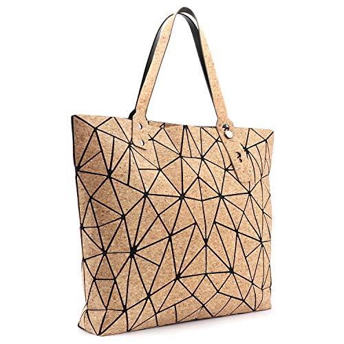 Tikea Bolsa Geométrica de Corcho Natural para Mujer, Bolso de Mano de Moda, Bolsa Shopper Ecológica Efecto Madera
