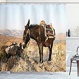 ABAKUHAUS Esel Duschvorhang, Griechischer Esel in den Bergen, mit 12 Ringe Set Wasserdicht Stielvoll Modern Farbfest & Schimmel Resistent, 175x180 cm, Mehrfarbig