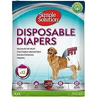Simple Solution Disposable Pañales para perros, blanco, XXL - paquete de 12