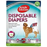Simple Solution Disposable Pañales para perros, blanco, XXL - paquete de 12