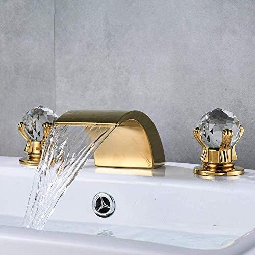 YZDD Grifo Mango de cristal Cascada dorada Grifo del baño Montaje en cubierta Baño extendido Grifo del lavabo de la bañera Grifo monomando de lavabo cromado