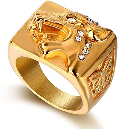 XBYN Hombres de Color Dorado Vintage Vintage Acero Inoxidable Diamante Viking Ring, Norse Mitología Gigante Lobo Fenrir Amuleto Joyería, Partido Personalidad Punk Hip Hop Rock Hecho A Mano Anillo