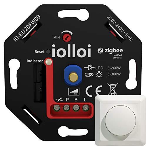 iolloi Zigbee-LED-Dimmer 5-200 W,230V Phasenabschnitt-Drehdimmer für Dimmbare LED und Halogen Lampen, kompatibel mit Alexa, Philips Hue und Google Home, ohne Klemmkrallen,3 Jahre Garantie