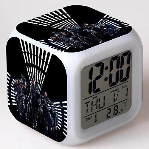 Superd Mesita de Noche para niños Reloj Despertador Digital LED luz de Noche Colorida Estado de ánimo Alarma Reloj Cuadrado Mudo con Puerto de Carga USB Viaje pequeño Reloj Despertador Regalo Q1787