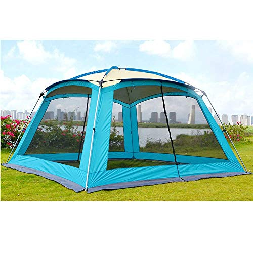 3x3m Outdoor Sun Shelter Easy Set Up,Large Garden Gazebo Portable Beach Tents Baby Canopy Camping Marquee with Insect Mesh Door,Blue