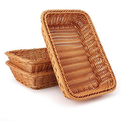 "Wicker Bread Basket, Eusoar 11.8""x 7.9""x 2.4"" 3pcs Tabletop Food Serving Baskets Trays, Bread Proofing Basket, Food Fruit Vegetables Sundries Storage Basket for Restaurant Bakery Family Party"