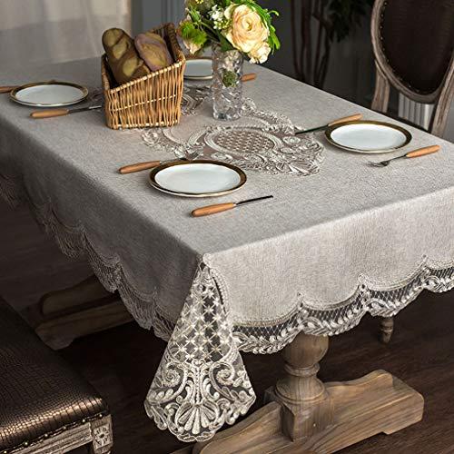 Spitzen-Tischdecke, rechteckig, schmutzabweisend, waschbar, für Restaurant, Kaffeetisch, Urlaub, Party