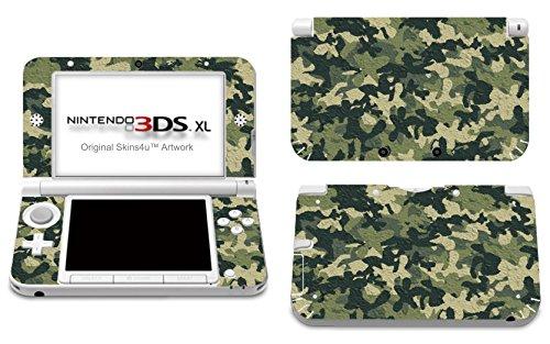 Skins4u Aufkleber Skin Folie Design Schutzfolie kompatibel mit Nintendo 3DS XL Wood Camo