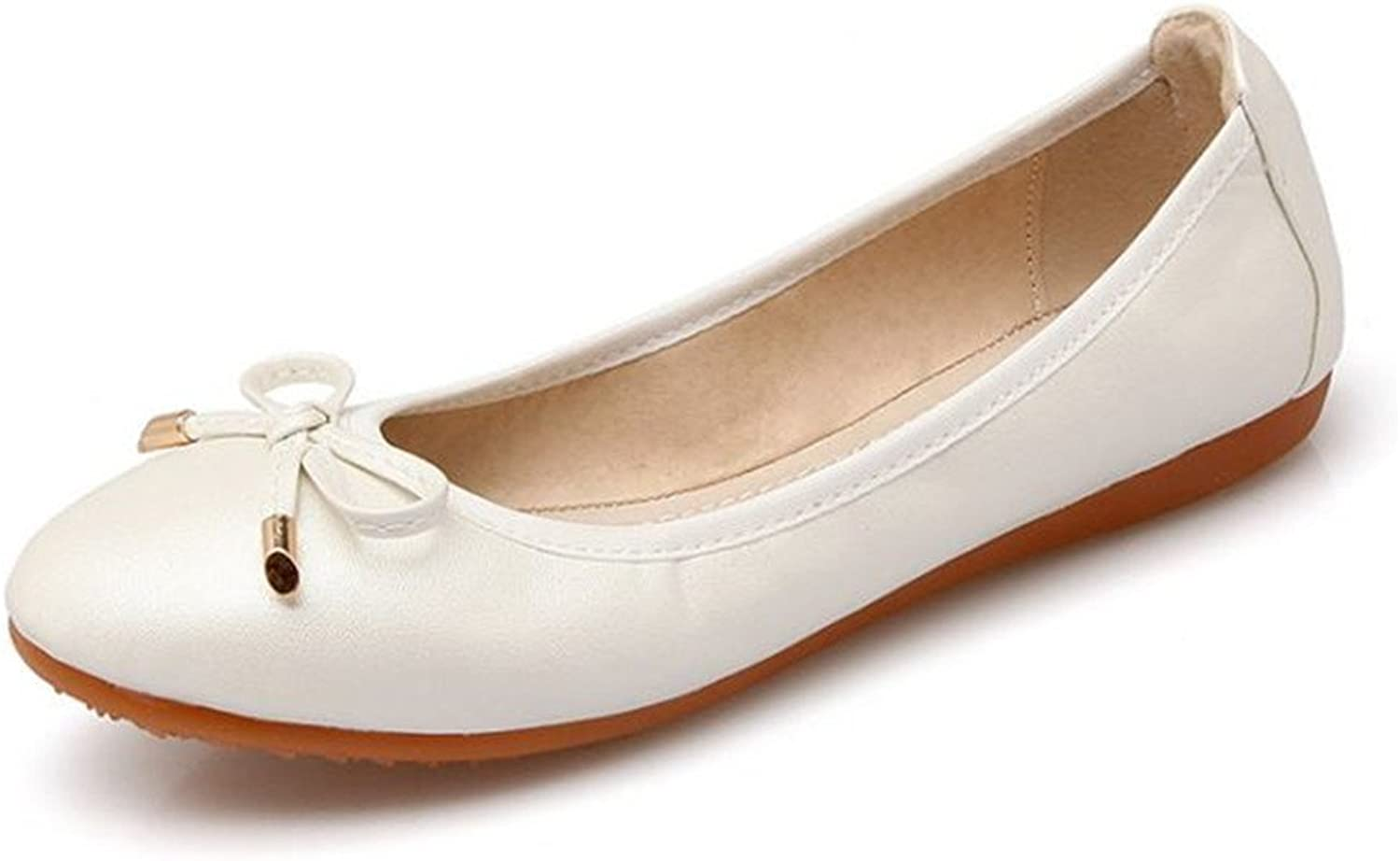 Women's Casual Flats Ballet Fashion shoes Faux Leather Bow tie
