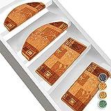 Floordirekt Stufenmatte Akzent Gemusterter Treppenschutz für Ihr Zuhause (Terra, Eckig 23,5 x 65 cm)