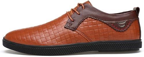 JIALUN-des Chaussures Confortable pour Homme d'affaires Oxford Décontracté Couleur Contrastante Chaussures à Coutures Douces (Couleur   Marron, Taille   36 EU)