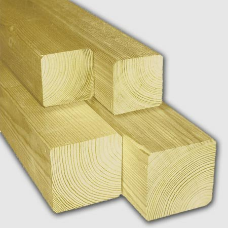 Zaunpfosten / Kantholz kdi 9 x 9 cm L 180 cm gekappt