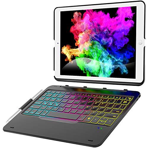 iPad 10.2 Case with Keyboard for iPad 7th Gen 2019 - iPad Air 10.5 2019 - iPad Pro 10.5 2017-343 DIY Backlits/7 Colors Backlit - Detachable Wireless Magnetic Keyboard - Smart Auto Sleep/Wake, Black