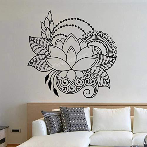 Lotus Mandala etiqueta de la pared Mehndi vinilo Yoga Studio decoración de la pared decoración de la pared india bohemia accesorios de decoración del dormitorio del hogar
