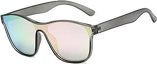 qiufeng - qiufeng Nuevas Gafas de Sol cuadradas polarizadas para Hombres y Mujeres, Gafas de Sol cuadradas para Hombre, diseño de Marca, Lentes de una Pieza, Gafas UV400, Gris, Rosa