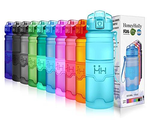 HoneyHolly Botella de Agua Deporte 400ml/500ml/700ml/1l, sin bpa tritan plastico, Reutilizables a...