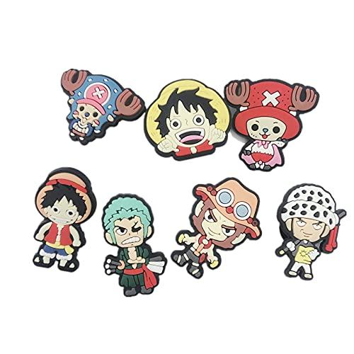 7 Pcs Anime OP Shoe Charm for Crocs Zoro Pirate King Clog Pins Shoe Decor Accessories Party Favor Gift