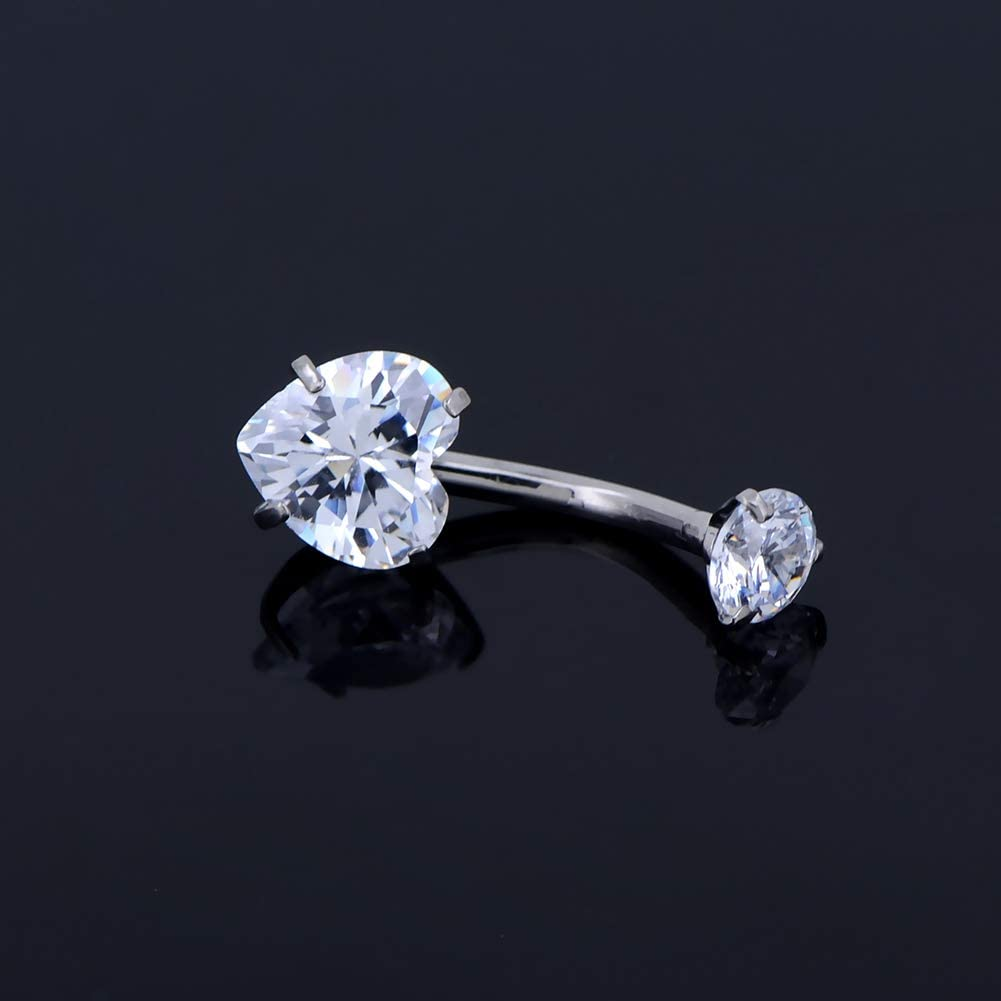 OUFER Titanium Belly Rings 14G G23 Solid Titanium Faceted Cubic Zirconia Navel Rings Belly Button Body Piercing Jewelry