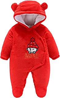 Aiweijia Unisex Baby Hooded Long Sleeve Cute Warm red Romper Jumpsuits Coat