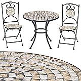 Deuba Conjunto de Muebles de jardín Mosaico Bilbao Set de Mesa y sillas Plegables de Metal Moderno