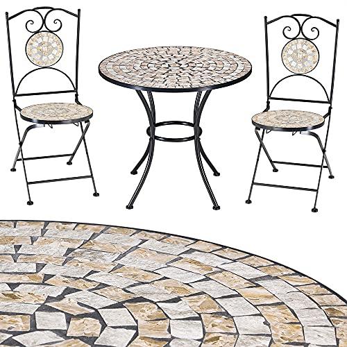 Deuba Mosaik Sitzgruppe Bilbao 3 TLG. Set I Mosaiktisch Rund Ø 60 cm mit 2 Stühlen I Gartenmöbel Balkonset Garten Tisch