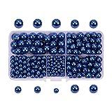 PandaHall Elite 1 Boite/Environ 440 pcs Bleu Perle en Verre Rond Beads 4mm 6mm 8mm...
