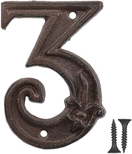 Vandicka Números de forja para indicar la numeración de las casas, puertas y calles, color marrón envejecido, acabado óxido con estampado de flor de lis, 12 cm, 3