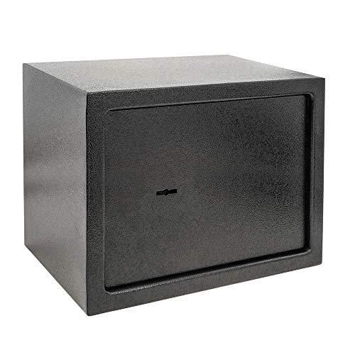 PrimeMatik - Wandtresor Stahl mit Schlüssel Mauertresor Möbeltresor Wandeinbautresor 35 x 25 x 25 cm schwarz