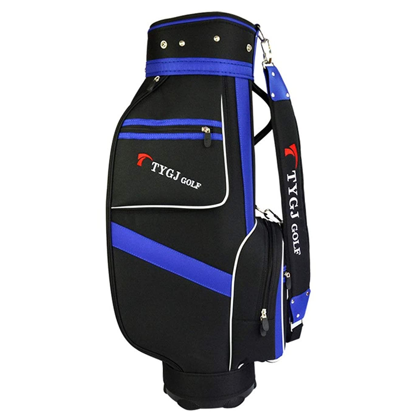快適血まみれのピストン超軽量 大容量 ゴルフ クラブ ケース ゴルフスタンドバッグ防水ゴルフナイロンゴルフバッグスタンダードバッグキャリーバッグ黒と青のボールバッグ付き5プランジャ穴 (色 : One color, サイズ : 85×38×22.5cm)