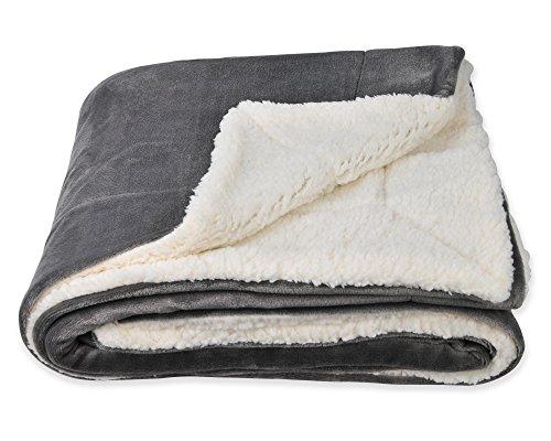SOCHOW Sherpa Decke Grau zweiseitige Wohndecken Kuscheldecken, extra Dicke warm Sofadecke/Couchdecke aus Sherpa, 150 x 200 cm super flausch Fleecedecke als Sofaüberwurf oder Wohnzimmerdecke