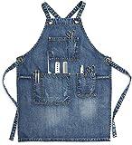 CPTDCL Delantal unisex de mezclilla azul para estilista, artesanos, barista, barbacoa, con prácticos bolsillos para hombres y mujeres (L)