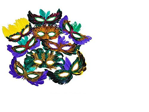 4E's Novelty Mardi Gras Feather Masks & Beads Party Pack with Emoji Stickers
