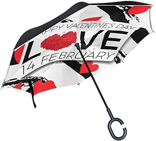 Valentines Love Arrow Emoji Umkehrschirm Doppelschicht-Umkehrschirm Wasserdicht Winddicht für Reisen im Freien
