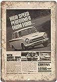 Placa de Metal para Ford Cortina por Lotus Britan, Cartel de Advertencia de Chapa de Hierro para Dormitorio, Escuela, decoración de Bar, café, etc.