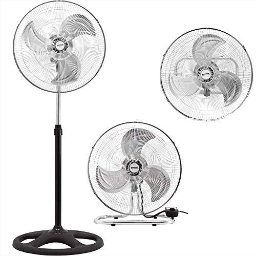 "Syntrox Germany VT-70W-BL 3 in 1 Ventilator 18\"" Chrom Standventilator + Tischventilator + Wandventilator mit Oszillation Windmaschine Axialventilator Ventilator Lüfter Gebläse"