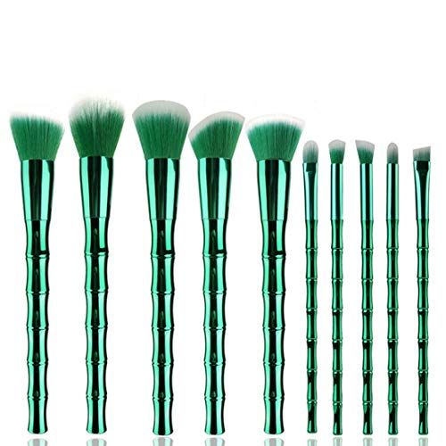 Hexiaoyi Bamboo forme Maquillage brosse de maquillage Trousse de toilette de fibre brosse cosmétiques (Color : Green)