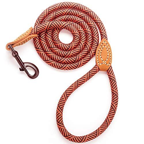 Mile High Life Leder Tailor Griff Klettern Hund Seil Leine mit schweren Pflicht Metall stabile Schließe (4/5/6Füße), 6 FT, rot