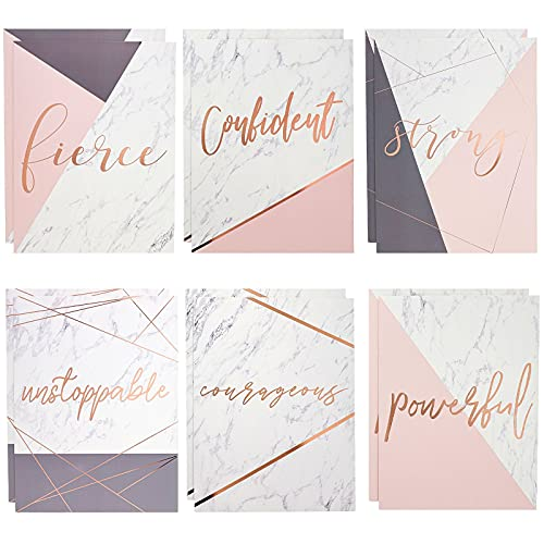 Marble Pocket Folders with Rose Gold Print, Cute Folders for School, Letter Size (Motivational, 12 Pack)