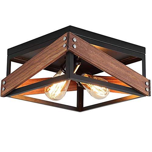 Lámpara de dormitorio Lámpara de techo Ajustable Moderno Simple Rectángulo Cagel Luz de techo Madera Hierro Creatividad Lámpara de balcón Estudio Cocina Oficina Pasillo Sala de estar,E27,32x32x17cm,A
