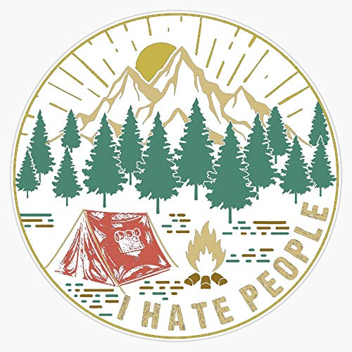 "EMC Graphics Camping Hiking I Hate People Vinyl Waterproof Sticker Decal Car Laptop Wall Window Bumper Sticker 5"""