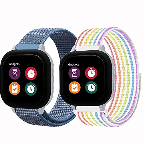 2 Packs Compatible with Gizmo Watch Band Replacement for Kids,20mm Breathable Nylon Watch Bands with Quick Release Pins for Gizmo Watch 2 Gizmo Watch 1 (Rainbow+Blue)
