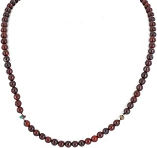 $180Tag Certified Silver Navajo Natural Red Chain Native American Necklace 15771-19 Made by Loma Siiva