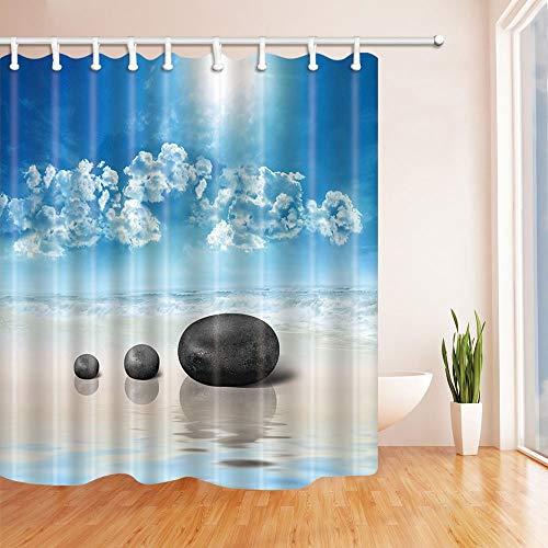 LRSJD Douchegordijn met golvende stenen op het strand in badkamer 71 x 71 inch polyester stof badkamer fantastische decoraties badkamergordijnen haken inbegrepen