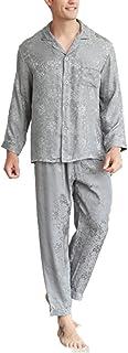 JYCDD Silk pajamas men's new mulberry silk home wear long-sleeved net color jacquard pajamas set,Gray,L