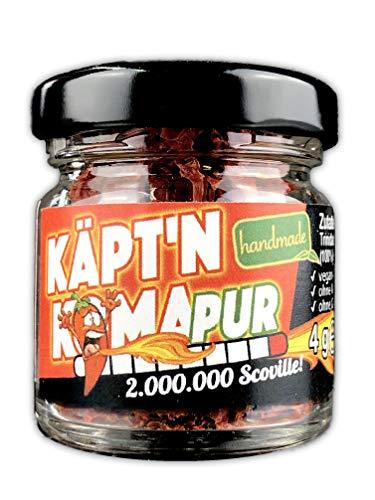 Schlump-Chili⎥Käpt'n Koma Pur⎥getrocknete Chiliflocken (Schärfste Chili der Welt) Trinidad Moraga Scorpion im Glas ULTRA SCHARF! (1 x 4g)